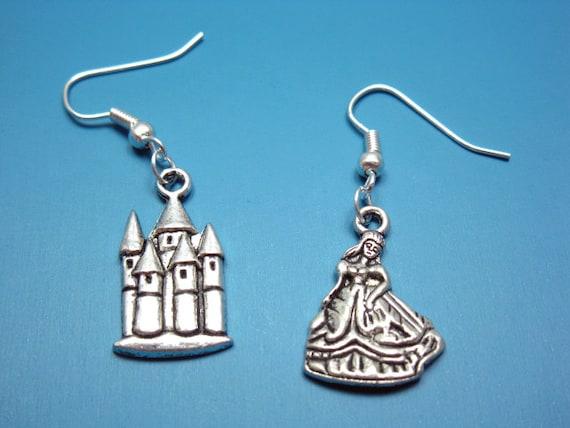 Princess and Her Castle Earrings - fairy tale jewelry cinderella sleeping beauty cute earrings quirky earrings chic princess earrings