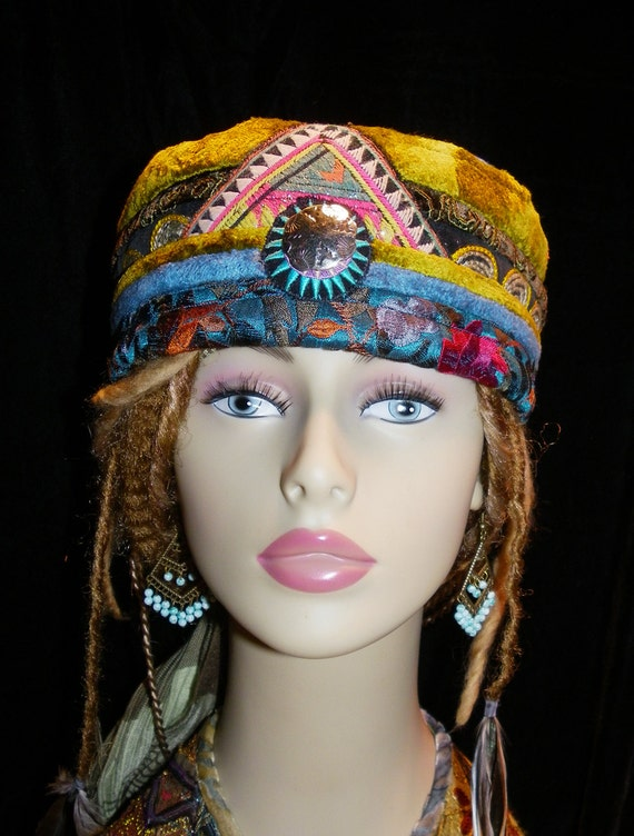 Hat Chartreuse Olive Turquoise Velvet Gypsy World Peace Hat