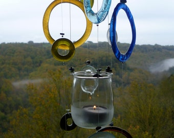 Ecological windchimes - recycled bottle glass - tea candle light
