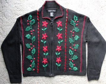 Dazzling Beaded Christmas Sweater w Poinsettias n Holly