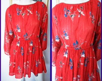 Vtg.80s Crepe Pleated Red Rose Print Long Sleeve Mini Dress by Liz Roberts.M/L.Bust up to 42