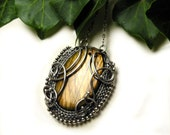 Silver wire wrapped pendant , gold labradorite , vintage style , wirework