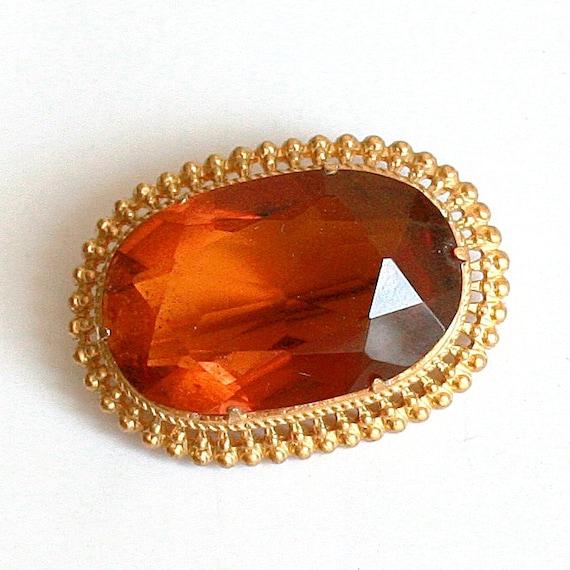 Vintage Amber Rhinestone Brooch - Glass Rhinestone in Gold Tone Metal - 1970s - from Russia / Soviet Union / USSR -
