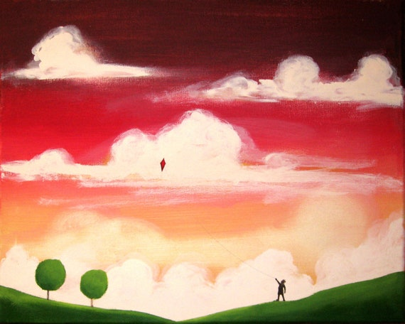 """canvas art landscape painting """"Kite Day"""" whimsical art contemporary art modern art  acrylic painting,canvas painting tree artwork"""