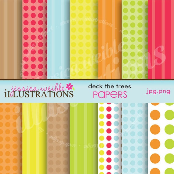 Deck The Trees Cute Digital Papers for Card Design, Scrapbooking, and Web Design