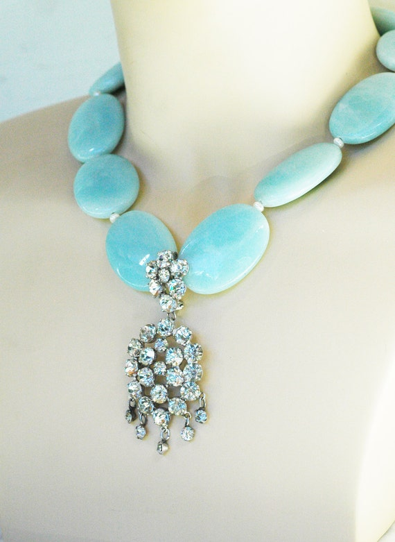 OOAK - Vintage Evening Brooch Necklace, Bridal Jewelry for your Princess Wedding or Red Carpet Event