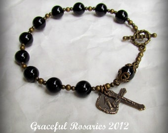 Rosary Bracelet for Men with Black Onyx  gemstones Solid Bronze Toggle and Medals