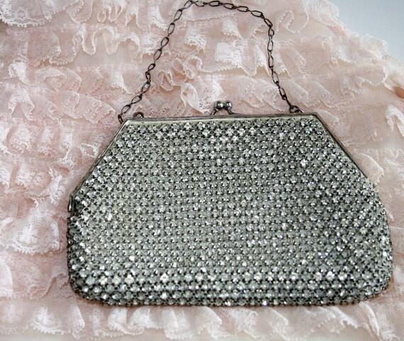 20s art deco purse /  rhinestone 1920s art deco handbag