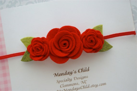 Red Felt Flower Headband - Felt Christmas Headband, Felt Headband, Baby Headband, Newborn Headband, Girls Headband, Toddler Headband