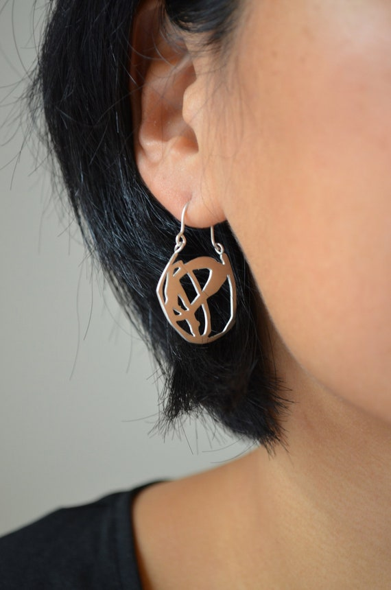Abstract drawing silver earrings