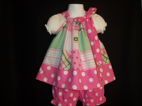 Pillowcase Dress John Deere Pink Plaid with Polkadots  Includes Diaper Cover Custom Sizes NB-4T