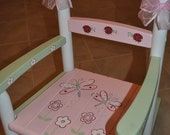 Kids Hand Painted Lady Bug Dragonfly Pink and Green Girls Rocking Chair- Baby Shower Gift, Nursery Furniture, Painted Child Chair, Baby Gift