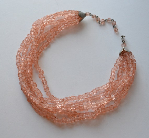 Peach Bead Necklace Vintage Glass Cube Beads