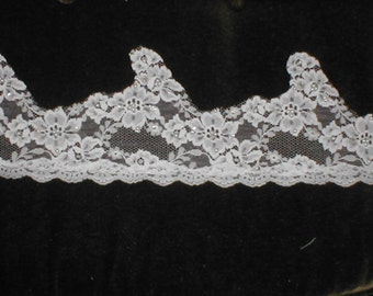 Vintage Beaded Chantilly Lace trim white or ivory