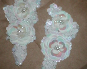 ONE Large WHITE Beaded Applique