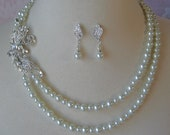 Rhinestone and Pearl Bridal Set, Necklace and Earrings,  Wedding Jewelry - APRIL