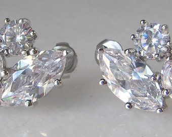 Cubic Zirconia Earrings,Crystal Bridal Earrings, Studs, Wedding Jewelry, Bridesmaid Earrings - LARISSA
