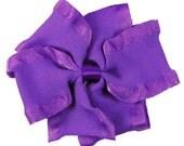 Medium Purple Double Ruffle Pinwheel Hairbow  Fancy  Hairbows Hair bows Toddlers Girls Photo Prop