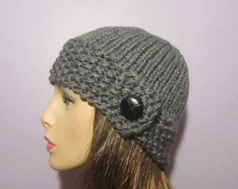 Grey or Pick Your Color Knit Hat with Genuine Leather Button