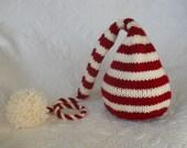 Knit Baby Hat, Christmas Stocking Elf Newborn, Knitted Infant Photo Prop, Red, Cream, Pompom, All Sizes, Nightcap Munchkin Pixie Beanie