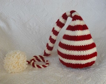 Knit Baby Hat, Christmas Stocking Elf Newborn, Knitted Infant Photo Prop, Red Cream Pompom, Nightcap Munchkin Pixie Beanie Ready to Ship RTS