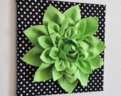 "Wall Flower -Chartreuse Green Dahlia on Black and  White Polka Dot 12 x12"" Canvas Wall Art- 3D Felt Flower"