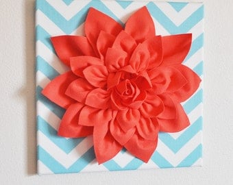 "Wall Flower -Coral Dahlia on Aqua and White Chevron 12 x12"" Canvas Wall Art- 3D Felt Flower"