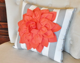 Coral Dahlia on Gray and White Stripe Pillow