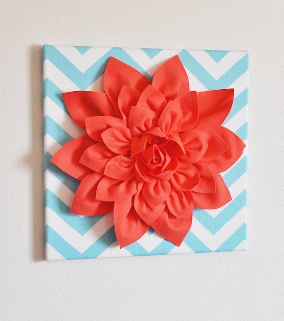 "Wall Flower -Coral Dahlia on Aqua and White Chevron 12 x12"" Canvas Wall Art- 3D Felt Flower"