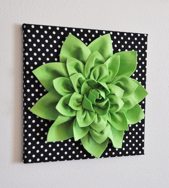 "Wall Flower -Chartreuse Green Dahlia on Black and  White Polka Dot 12 x12"" Canvas Wall Art- 3D Felt Flower"