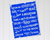 Boy's Rules Family Rules Style 11x14 Print Blue Adventure Fly Dream Stars Rocketship