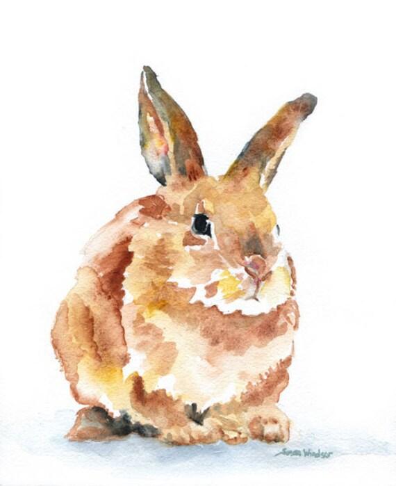 Watercolor Painting Bunny Rabbit Giclee Print 8x10 - 8.5 x 11