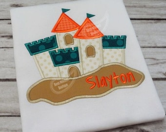 Sand Castle Applique Embroidery Design