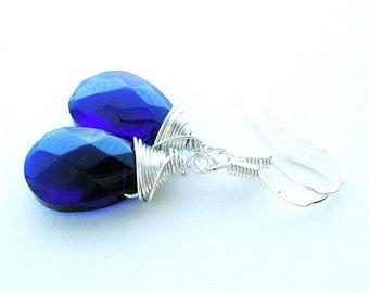 Dark Blue Glass Earring - Cobalt Blue Wire Wrap Earring - Silver Dangle Earring