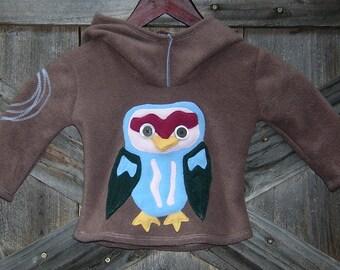 Child's Owl Hoodie /  fleece hoodie  / kids hoodie / made to order / handmade  S / M
