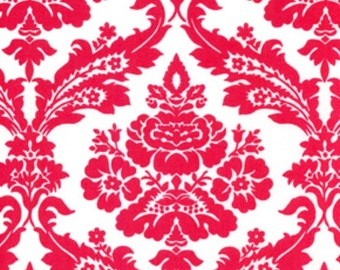 Tanya Whelan Fabric, Picnic Damask in Red, Darla Collection, Red and White Damask Fabric, 1 Yard