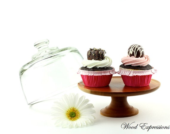 Cherry Cake Stand With Glass Dome/ Pedestal Cake Stand / Dessert Dish