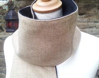 caramel tweed herringbone scarf