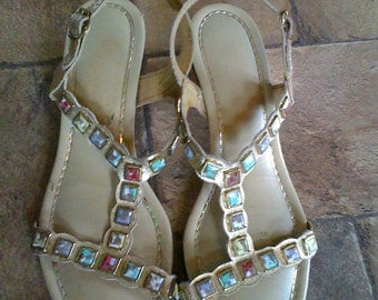 Vintage 60's Jeweled Studded Sandals sz 7
