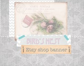 Etsy Shop Banner Set. Vintage Bird's Nest. Custom Premade Theme. Shabby Chic Boho Grey Turquoise Pink