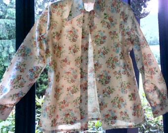 Womens Vintage Shirts Womens Shirts Womens Blouses Button down Shirt 70s Shirt Hippie Shirt Flower Shirt Womens Vintage Clothing