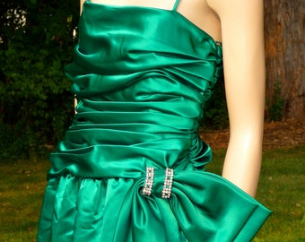 Vintage Emerald Green Satin Evening Dress, Lillie Rubin, Small
