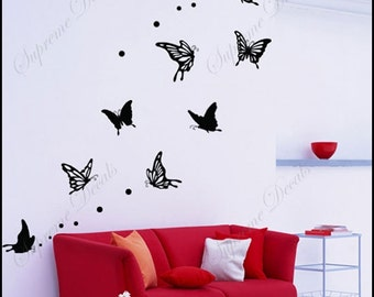 Lovely Flying Butterflies - Vinyl Removable Wall Decals Murals Stickers Wall Decor