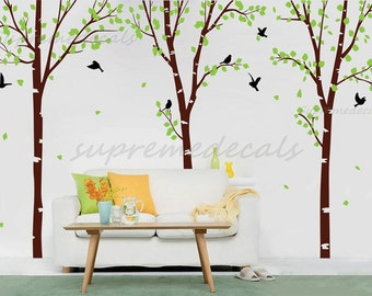 Tree Forest  Wall Decals Vinyl Removable Tree Wall Mural - Super Big Three Birch Trees - Wall Decals Stickers Removable Vinyl Room Decor