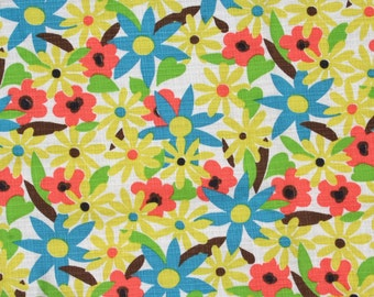 Vintage Fabric Mod Floral Fabric Daisies Yellow, Turquoise, Orange, Lime Green 60s
