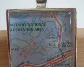 Rockaway Beach New York Map Pendant