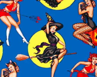 Halloween Bewitched pin-up fabric - Alexander Henry Scenic 1 Yard Fabric