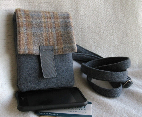 Cell Phone Case / iPod Pouch / Smartphone Case - Washed, Felted Plaid & Grey Flannel Pendleton Wool