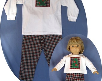 "MATCHING Clothes for American Girl Doll Christmas Pajamas Girl 4  Holiday Christmas tree pjs fits 18"" Gotz, Alexander"