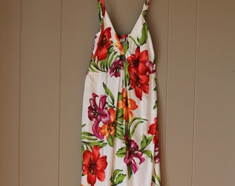 Rayon Keyhole Orchid floral Vacation dress Bali Indonesia with ring floral ruched dress strappy dress vacation dress small size